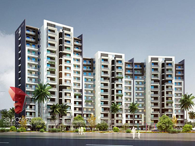 Tiruchirappalli-architectural-visualization-3d-walkthrough-company-apartments-birds-eye-view-evening-view-3d-model-visualization