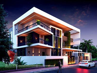 evening-view-bungalow-front-design-front-elevation-3d-exterior-images-3d-rendering
