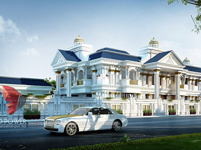 Chandigarh-3d-architectural-outsourcing-company-bungalow-evening-view