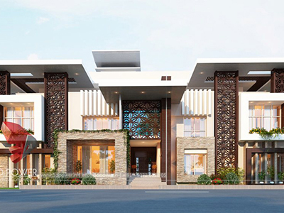 Chandigarh-3d-architectural-rendering-services-3d-architectural-models-modern-bungalow-elevation-services-bungalow