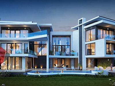 Chandigarh-bungalow-evening-view-architectural-rendering-walkthrough-animation-studio