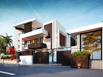 landscape-design-bungalow-Chandigarh-3d-virtual-tour-walkthrough-bungalow-evening-view