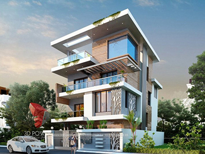 Ghaziabad-best-architectural-visualization-architectural-3d-modeling-services-bungalow-design-evening-view