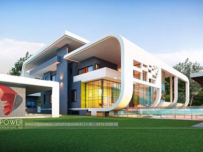 Indore-bungalow-design-evening-view-architectural-rendering-walkthrough-animation-studio