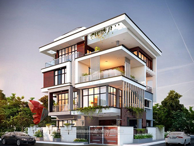 Kolkata-3d-architectural-outsourcing-company-modern-bungalow-design-evening-view