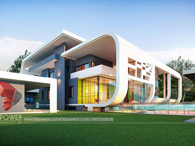 Kolkata-bungalow-design-evening-view-architectural-rendering-walkthrough-animation-studio