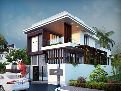 Kolkata-modern-bungalow-design-night-view-architectural-3d-modeling-services