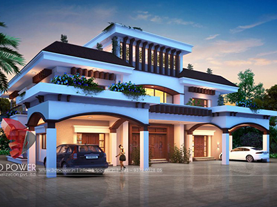 New-Delhi-3d-architectural-outsourcing-company-modern-bungalow-design-night-view-walkthrough-rendering-services
