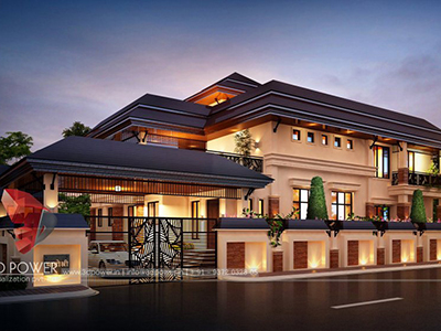 New-Delhi-architectural-outsourcing-company-bungalow-design-night-view-3d-modelling