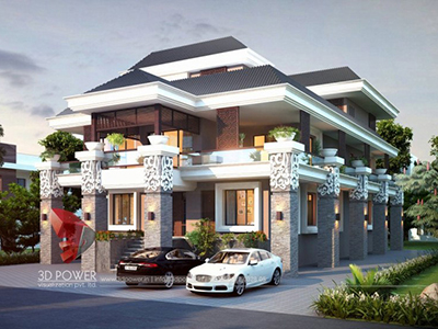Nizamabad-modern-bungalow-design-day-view-3d-modeling-and-rendering-services