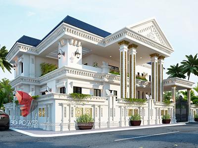 landscape-design-modern-bungalow-design-Patna-3d-virtual-tour-walkthrough-modern-bungalow-design-evening-view