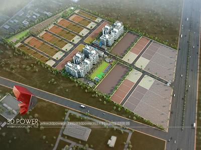 3d-Walkthrough-3d-visualization-apartment-rendering-townhsip-buildings-birds-eye-veiw-evening-view