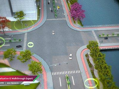 four-way-road-smart-city-3d-power-walktrhough-animation