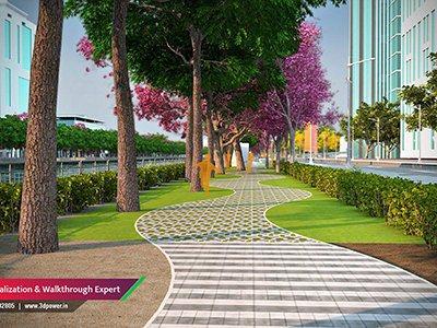 road-public-walking-plaza-garden-3d-architectural-design-animation-services