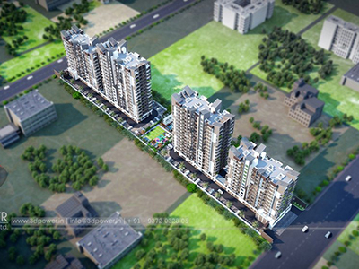 Top-view-township-3d-model-apartments-architectural-3d-walkthrough-company
