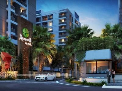 walkthrough-Architecture-birds-eye-view-high-rise-apartments-night-view-virtual-3d-apartment-rendering