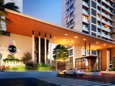 Front-apartments-gate-3d-view-architectural-flythrugh-real-estate-3d-animation-company