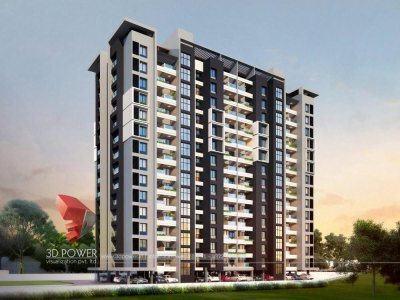 3d-walkthrough-company-3d- model-architecture-evening-view-apartment-panoramic-Ahmednagar