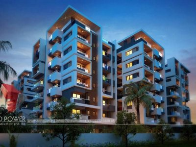 ambikapur-studio-appartment-buildings-eye-level-view-night-view-real-estate-walkthrough