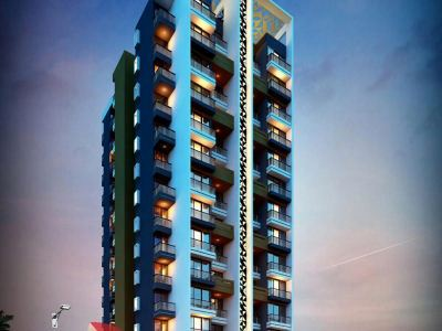 anand-elevation-rendering-apartment-3d-walkthrough-architecture-services-building-apartment-evening-view-eye-level-view