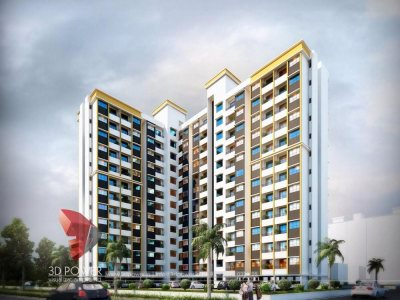 3d-high-rise-apartment day-view-realistic-Auroville-3d- exterior- rendering-3d-walkthrough-services