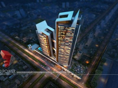 high-rise-apartment-3d-designing-services-Hubli-evening-view-photorealistic-renderings
