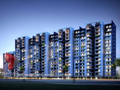 front-view-apartment-night-view-3d-architectural-3d visualization-services Hyderabad