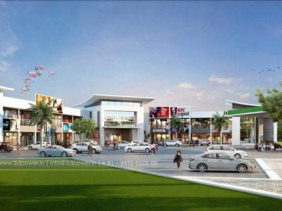 apartment-rendering-3d-Visualization-shopping-area-day-view-eye-level-view-junagadh