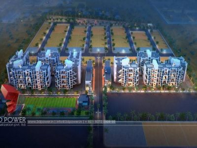 3d-architectural-rendering-township-kollam-birds-eye-view -architectural- walkthrough