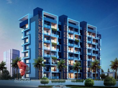 kumarakom 3d-architectural-rendering-township-night-view-exterior-render-apartment-rendering