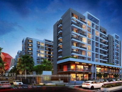 kumarakom-3d-high-rise-apartment-Evening-view-realistic-architectural-3d-visualization