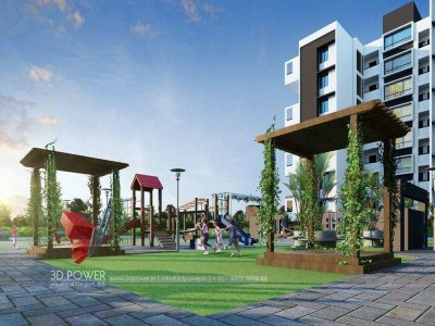 elevation-rendering-architectural-services-play-ground-apartments-nashik-birds-eye-view-evening-view