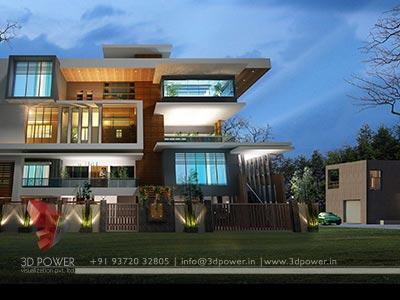 contemporary bungalow night rendering