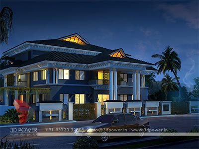 contemporary bungalow night view 3d