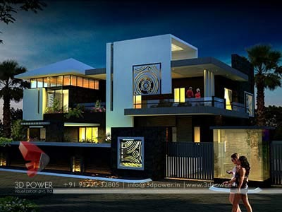 modern bungalow night view 3d design