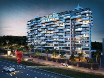 high-rise-apartment-3d-elevation-Port blair-evening-view-photorealistic-architectural-rendering
