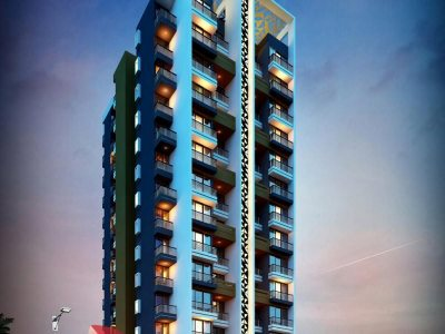 high-rise-apartment-3d-elevation-night-view-3d-model-architecture- Puducherry-3d- architectural- rendering- companies