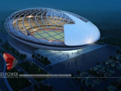 3d-architectural-drawings-3d model-architecture-architectural-services-sports-stadium-birds-eye-view-night-view