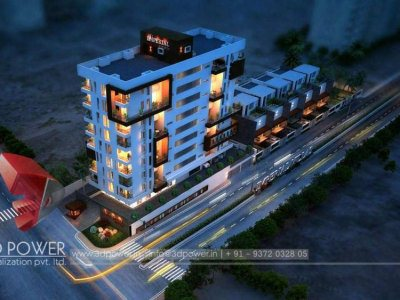 photorealistic-renderings-real-estate-satara-studio-apartments-buildings-night-view-bird-eye-view