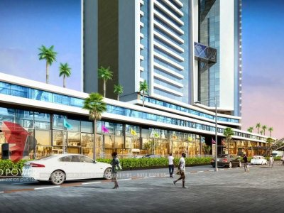 satara-3d-walkthrough-services-3d-real-estate-walkthrough-shopping-area-evening-view-eye-level-view