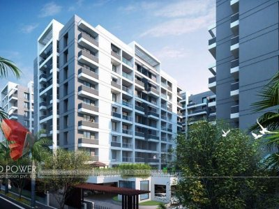 satara-walkthrough-Architectural-warms-eye-view-high-rise-apartments-evening-view