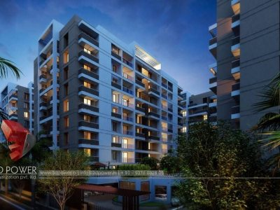 rendering-services-high-rise-apartment-vijaywada-evening-view-apartment-Elevation