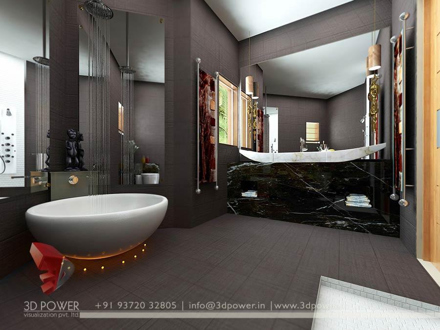 Master Bedroom Bathroom Interior Rendering 3d
