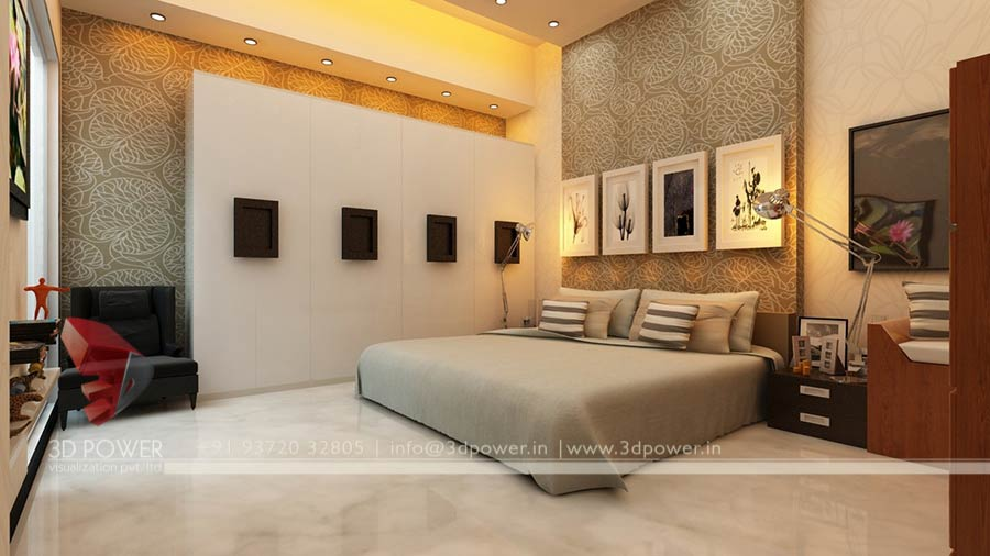 ... Design Bungalow Bed Room 3d Interior Rendering ...