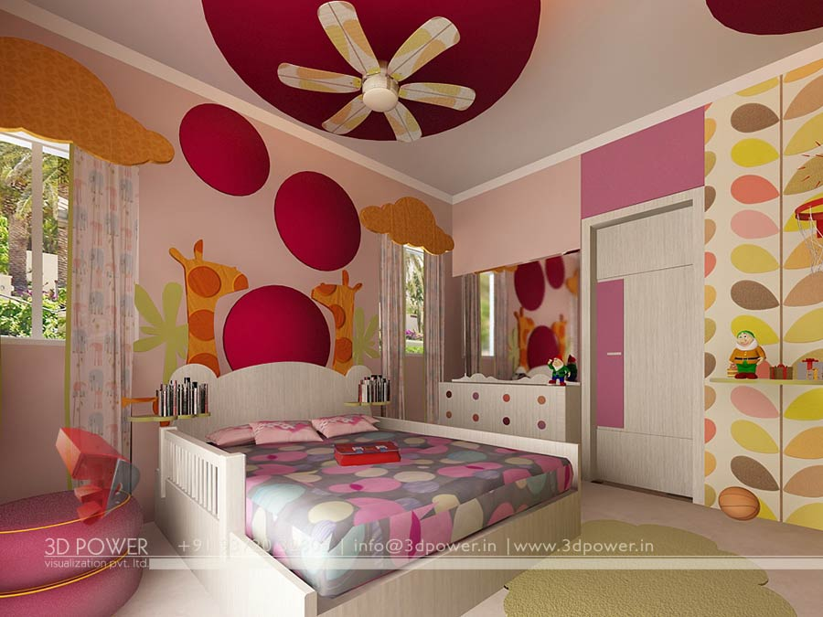 3d interior design rendering services bungalow home for Interior design bedroom pink