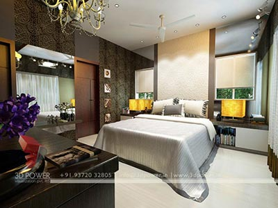 villa bedroom 3d interior rendering
