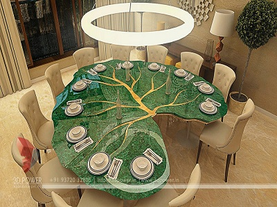 3d dining room interior design view