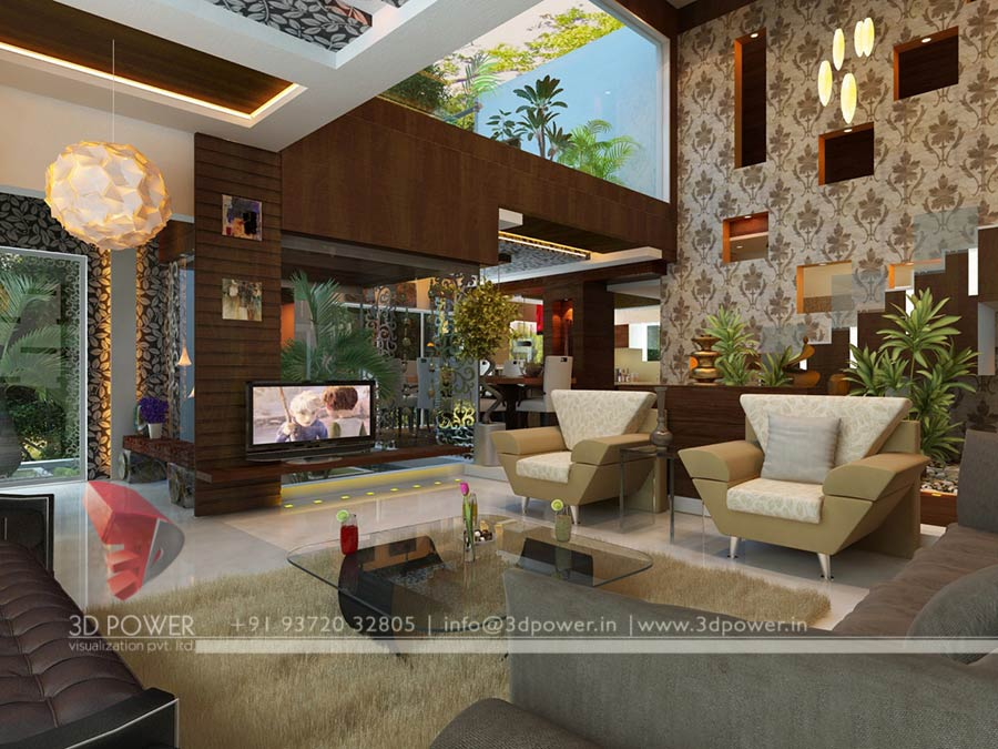 Bungalow living hall 3d interior design