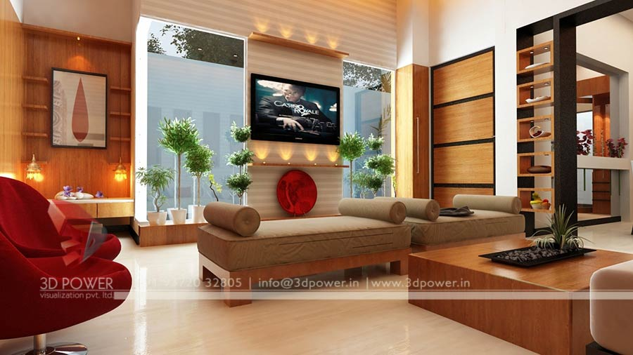 3d interior design rendering services bungalow home for Living room interior