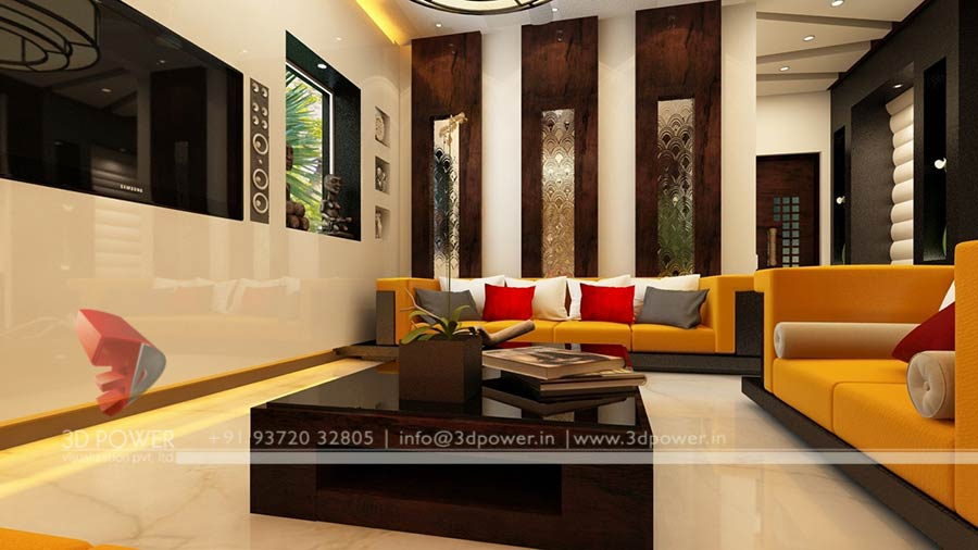 3d interior design rendering services bungalow home for Living hall interior design